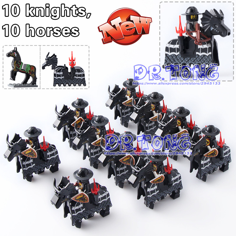 DR TONG Medieval Rome Knights Gold Knights with War Horse Super Heroes Building Blocks Bricks Toys Children Gifts collectibles toys h03b 1 6 the crusaders war horse brown horse for teutonic knithgs europen medieval action figure
