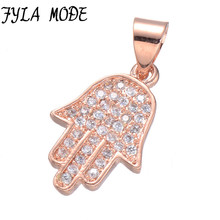 Fyla Mode Luxury Cubic Zirconia Charms New Design Micro Pave CZ Stone Rose Gold/Rhodium/Gold Fatima Hand Hamsa Necklace Pendant