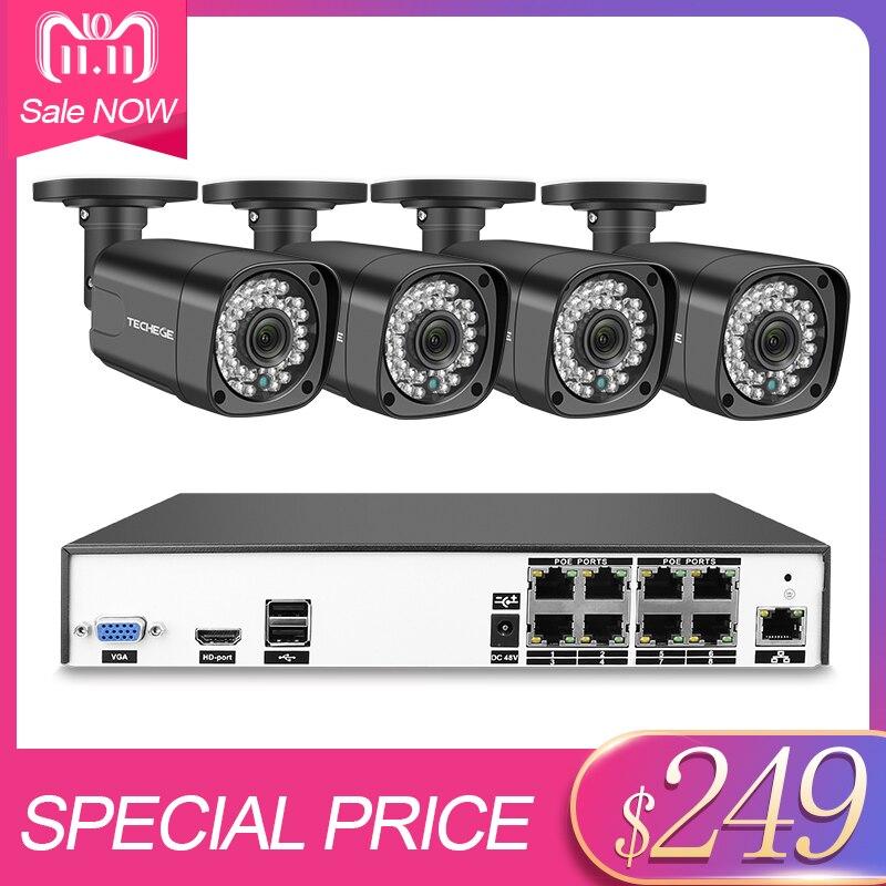 Techege 8CH h.265 4MP POE Kit de Système de caméra de sécurité En Plein Air Étanche 2560*1440 Kit de Surveillance PoE 48 v Surveillance kit