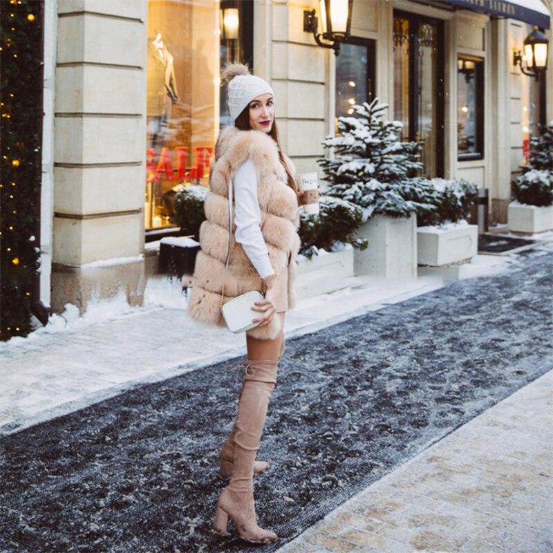 FURSARCAR Real Natural Fur Vest Kvinder Fox Fur Coat 2018 Ny Luksus - Dametøj - Foto 4