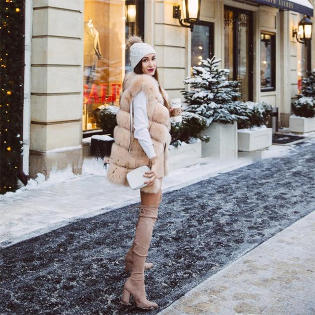 FURSARCAR Real Natural Fur Vest Women Fox Fur Coat 2019 New Luxury Female Fur Jacket Warm Thick Long Winter Fur Vest Waistcoat 4
