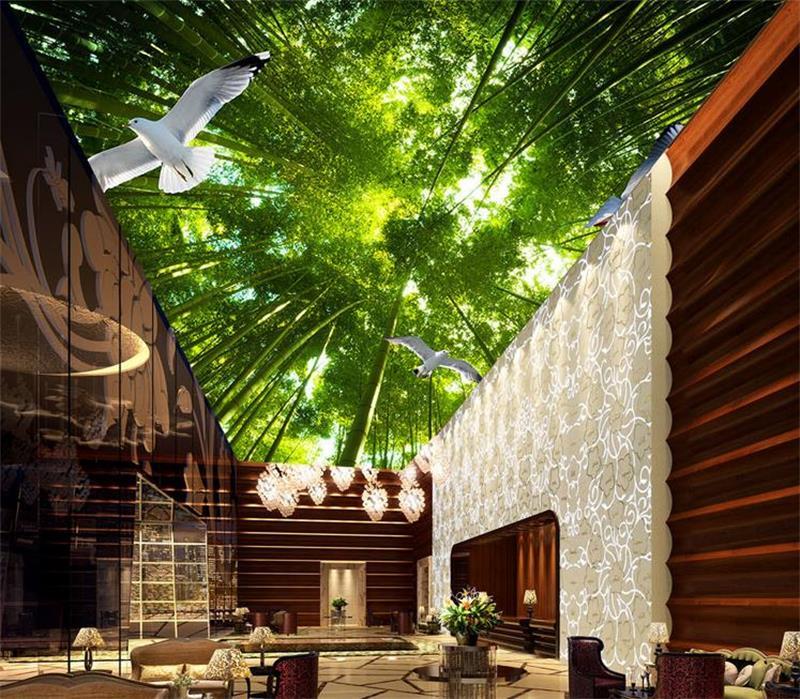 3d wallpaper custom ceiling mural photo wallpaper dream for Bamboo forest mural wallpaper