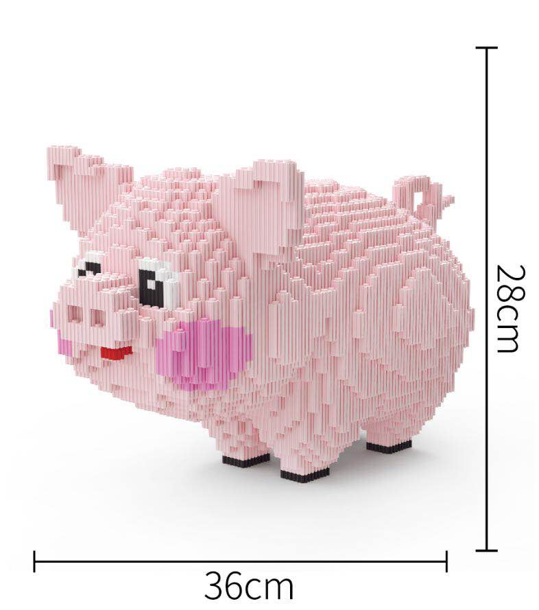 Xizai Connection Blocks Cartoon Building Toy Big Size Pink Pig Model Building Bricks Animal Toys Brinquedos for Kids Xmas Gifts