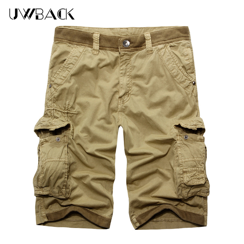 Uwback Summer Casual Shorts Men Cotton Cargo Mens Short With Multi Pockets Loose Solid Streets Outwear 2017 Knee Length DBA007