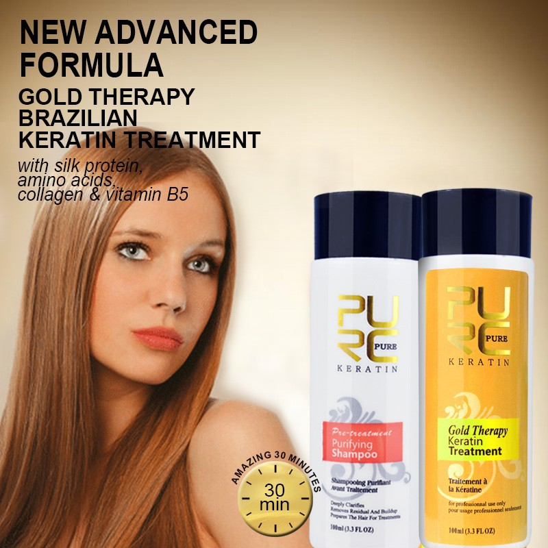 PURC 4pc/set Formalin Brazilian Keratin Treatment Straighten Hair Repair Damaged Hair Shampoo Conditioner Set Repair Coarse