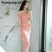 Slash Neck Pink Long Women Dress Short Sleeve Patchwork Midi Ruffles Casual Bodycon Summer Clothes for