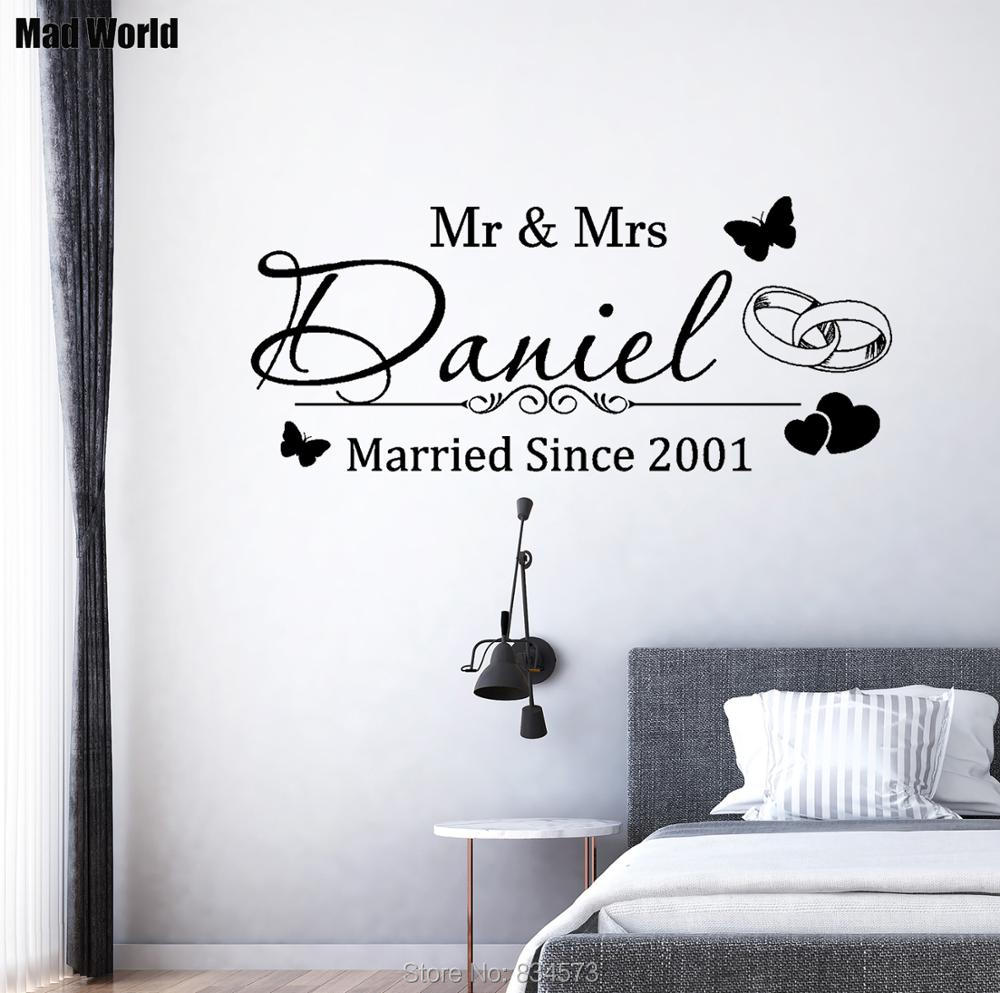 Name Vinyl Decal Stickers Personalised Mr /& Mrs Great for DIY Gifts