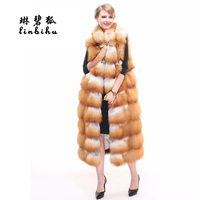 Real Fur Vest Fox Fur Coat Thick Warm Winter Women Coats Long Sleeveless Female Overcoat For