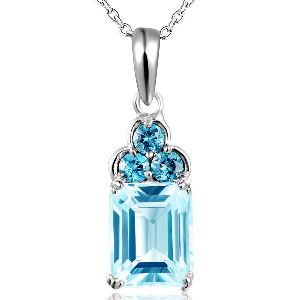 Dormith real 925 sterling silver necklace natural sky blue topaz 4 2carats 8 10mm water drop
