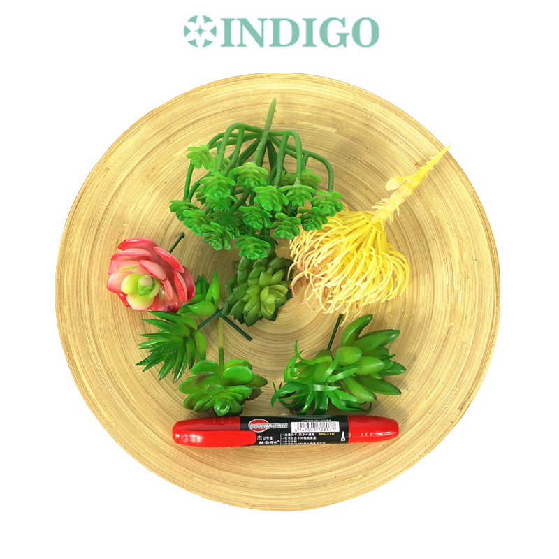 INDIGO Green Artificial Succulent Plant 9pcs 1 Wood Tray Set Flower Bonsai Table Decoration Plant Free Shipping in Artificial Dried Flowers from Home Garden