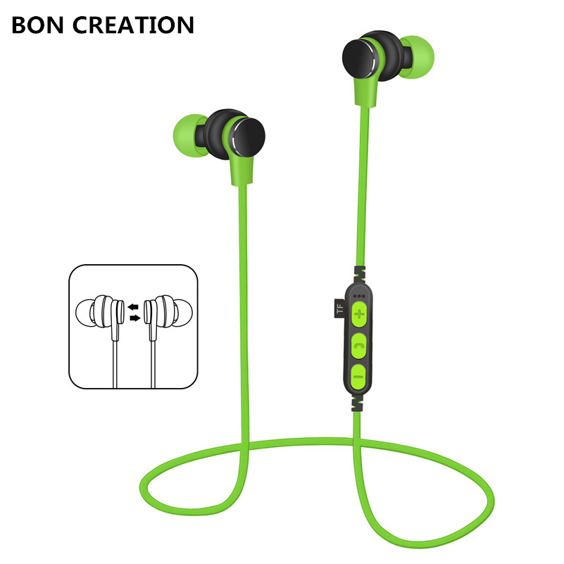 BON CREATION Bluetooth earphone high fidelity stereo earphone super bass smartphone music sport earphone for Iphone Samsung mymei groupie mini speaker portable bluetooth mp3 no high fidelity high wire subwoofer active low outdoors free music speaker for