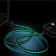 Micro USB Flowing LED Glowing Charging Lighting Cable For iPhone 6s Type C Charger Auto Power-off 2.4A max Fast Charge Data Cord