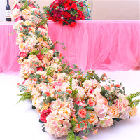 New Wedding Decorative Floral Rose Peony Flower Hydrangea Hotel party Wedding Road Lead Stage Decor