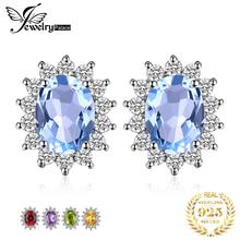 JewelryPalace Fashion Women Stud Earrings Princess 1.1ct Natural Amethysts 925 Sterling Silver Stud Earrings For Women Jewelry