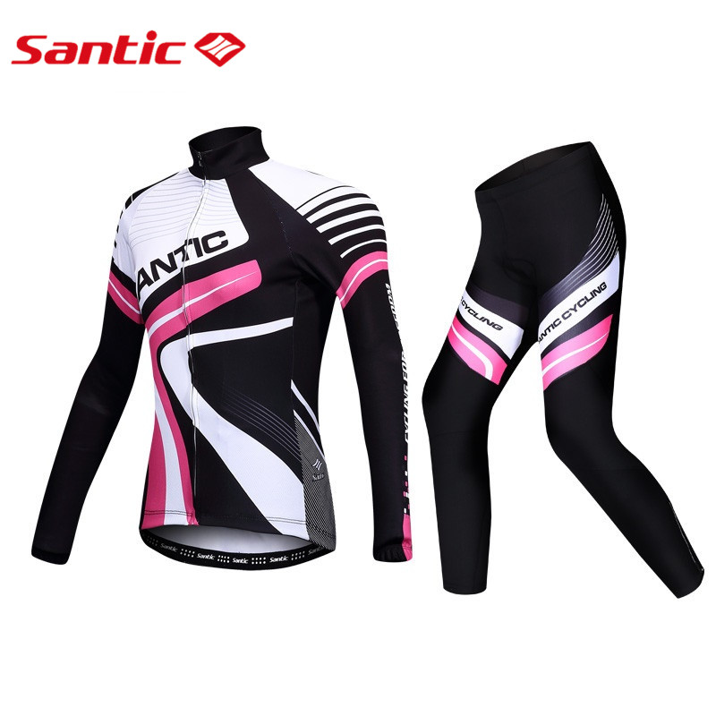 Santic Women Cycling Long Sleeve Suits Cycling Jersey and Padded Pants Keep Warm Autumn Winter Cycling Clothings SL144F0705P