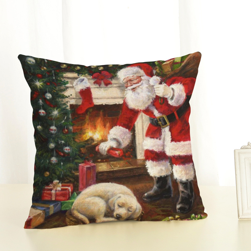 New Year Christmas Decorations For Home Christmas Pillow cover Santa Claus and Dog Cotton Linen Pillowcase Office Home Cushion (7)