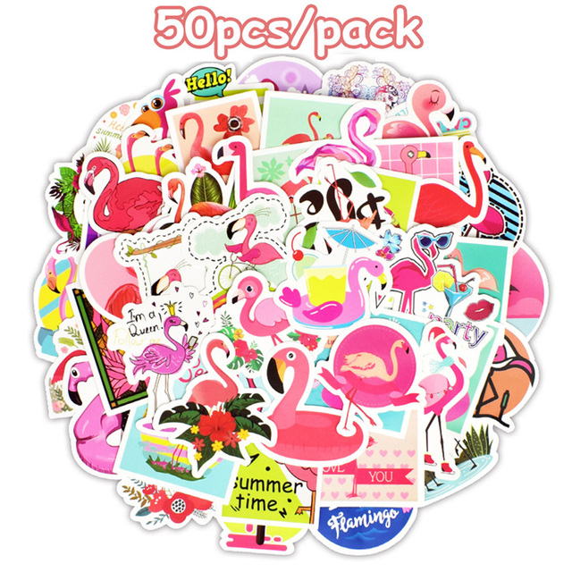 50pcsset Cute Flamingo Sticker Self Adhesive Diy Craft Vinyl