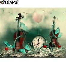 DIAPAI 100% Full Square/Round Drill 5D DIY Diamond Painting Violin clock heart Embroidery Cross Stitch 3D Decor A06964