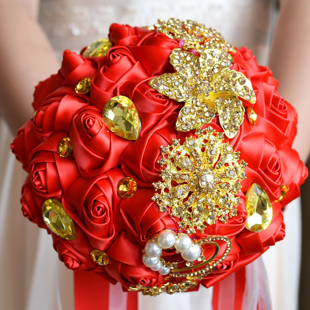 Hot Gorgeous Gold Brooches Wedding Bouquet Silk Roses Bridal Bouquet Rhinestones Colorful Bride 's Bouquet with pearl