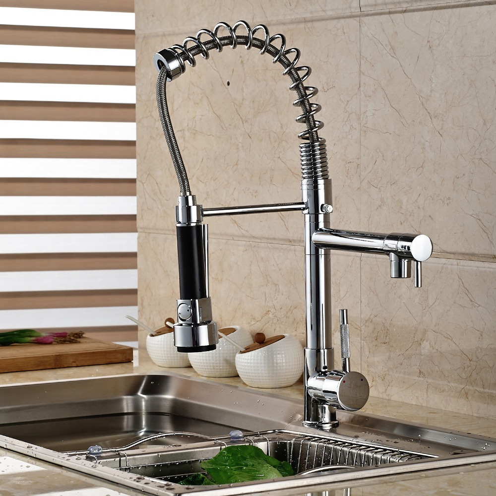 Chrome Spring Pull Down Kitchen Faucet Dual Spouts 360 Swivel ...