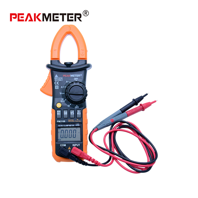 <font><b>PEAKMETER</b></font> <font><b>PM2108A</b></font> Digital Multimeter Capacitance Meter True RMS Capacity Frequency Voltage Current Transistor Clamp Meter Tester image