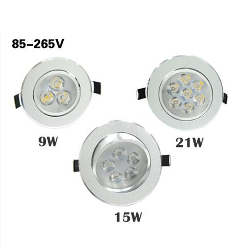 1Pcs AC85V-265V 9W/15W/21W Ceiling Downlight Epistar LED Lamp Recessed Spot Light +LED Driver For Home Illumination Dropshipping