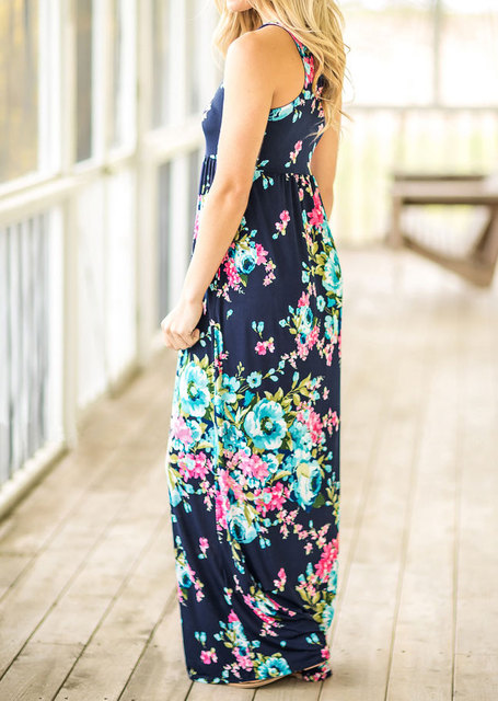 2018 VESSOS Women Max Dresses Fashion Tank Sleeve Floral Pocket Sleeveless Maxi Dress Polyester Floor-Length Navy Blue Casual 4