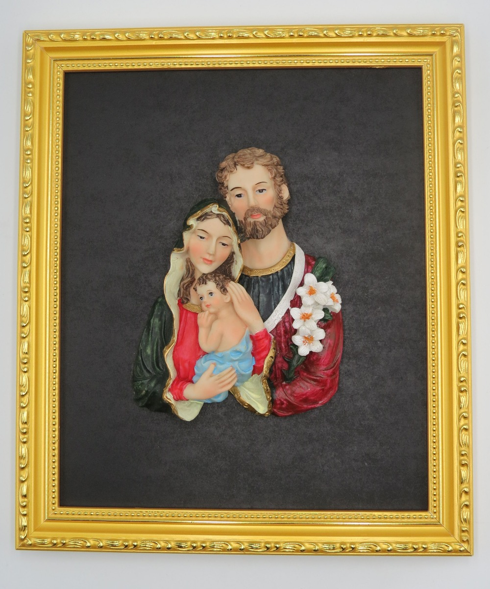 Wall Art Decoration Holy Family Resin Statue Religious Figurine Gold ...