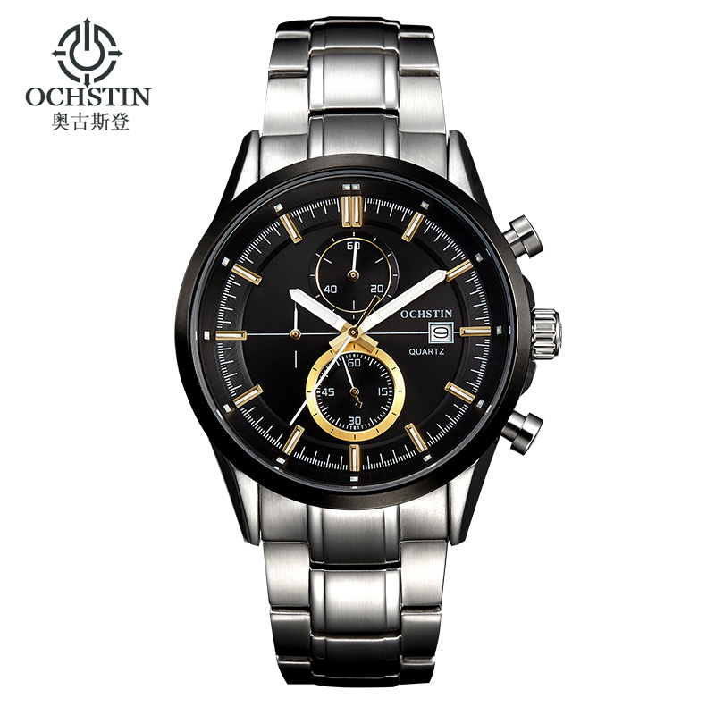 купить OCHSTIN Top Quartz Chronograph Watches Men Luxury Sapphire Crystal Glass Waterproof Stainless Steel Sport Wrist Watch Men Clock недорого