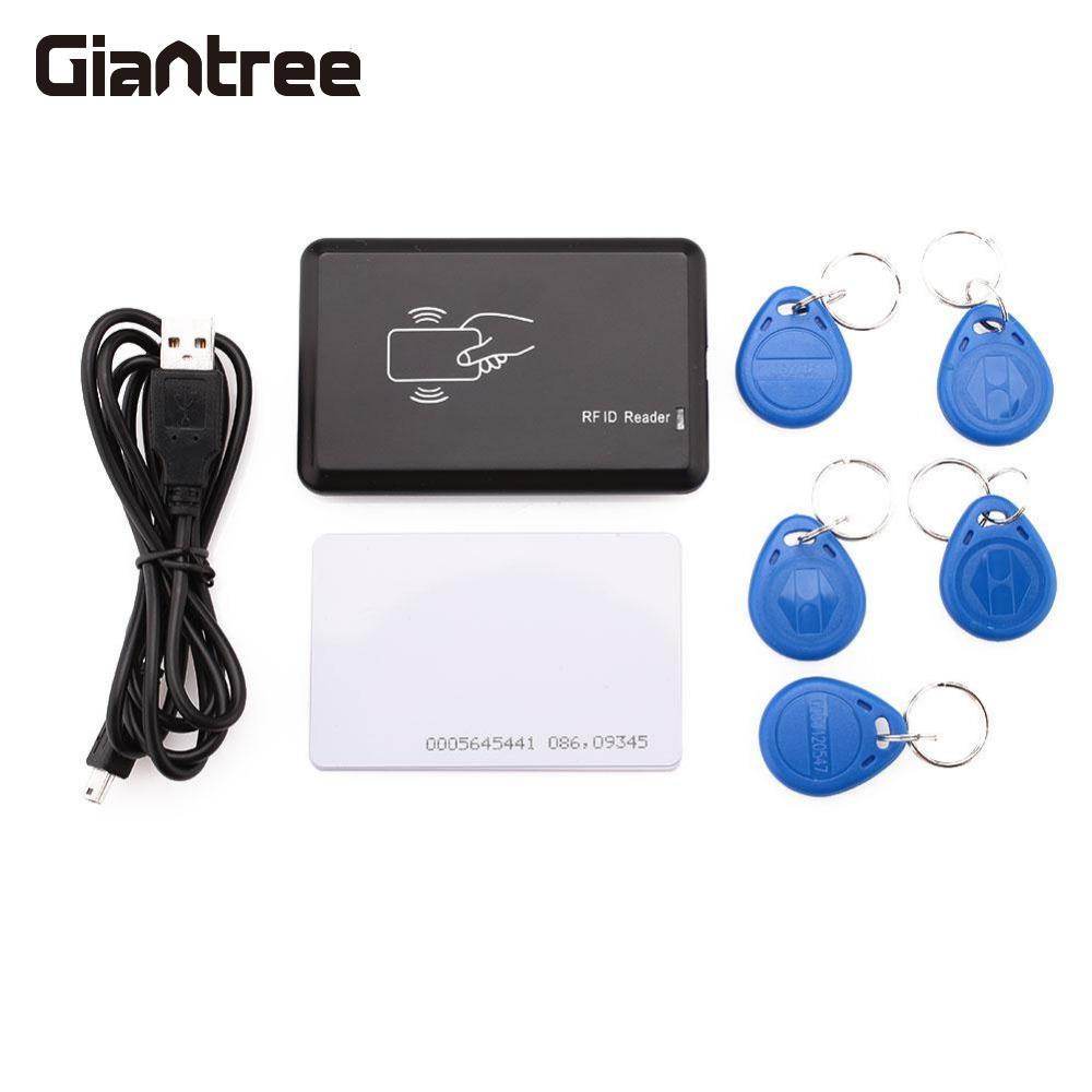 Giantree 125MHz RFID Card Reader EM4100 Format ID Card/ IC Card Reader for Mifare with 5 Writable KeyTags For Access Control girls grid a line flared dress