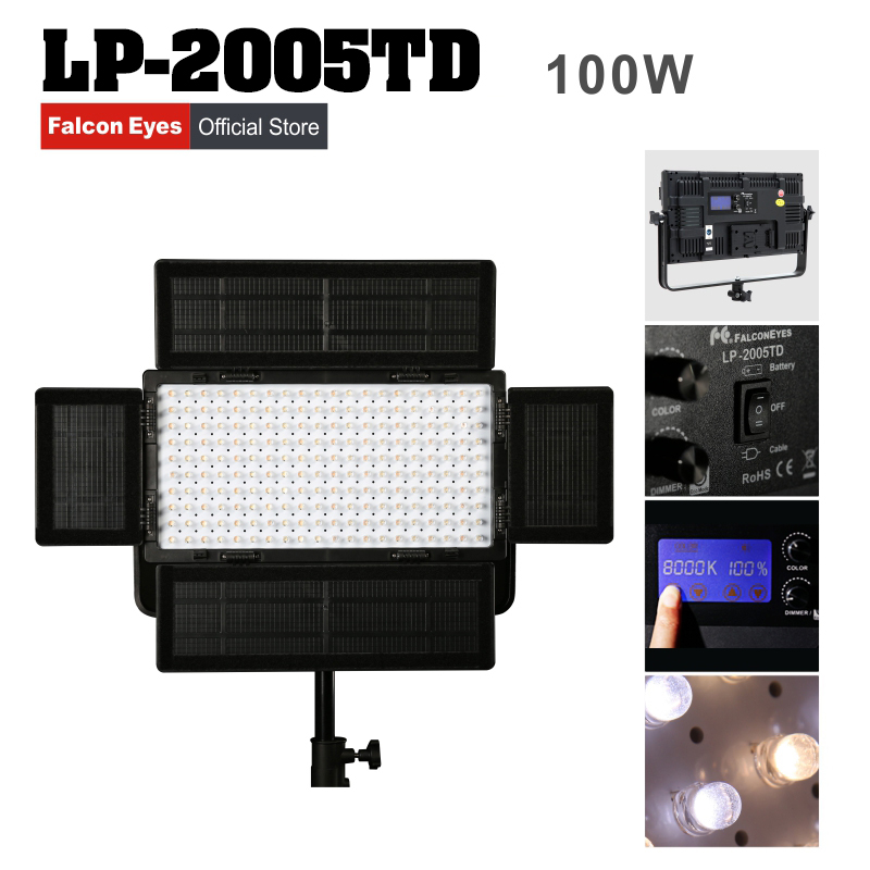 цена на Falconeyes 100W Color Temperature Adjustable LED Video Light Professional LED photo lighting LP-2005TD