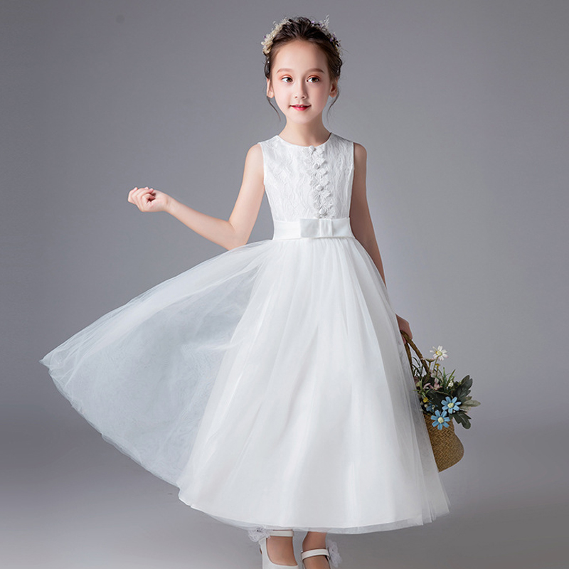 Flower Girl Dresses for Weddings Party Dress Luxury White Stain Children Toddler Kids Wedding Gowns Lace