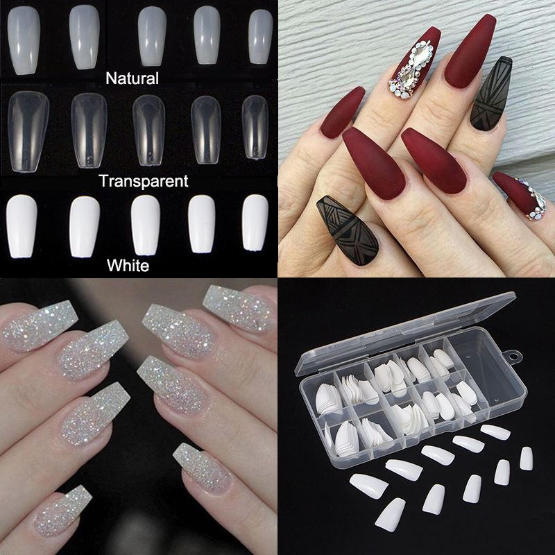 TKGOES 100PCS Beauty White V Shapes Fake False Acrylic Nail Tips ...