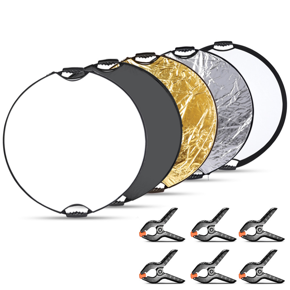 Neewer 5 in 1 Portable Round Lighting Reflector Reflector Panel and 6-Pack Muslin Backdrop Spring Clamps Clips for Photo Studio