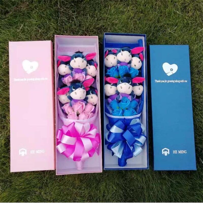 Mignon Doux Bourriquet Âne avec savon de bande dessinée de fleurs bouquets Trucs Animaux Jouets En Peluche Créative Valentine/Cadeau De Graduation