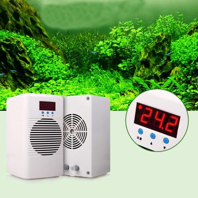 Refroidisseur d'eau d'aquarium de 72 w/100 w 110 240 v ou double régulateur de température plus chaud de refroidisseur pour le récif marin de corail de réservoir de crevette de poissons