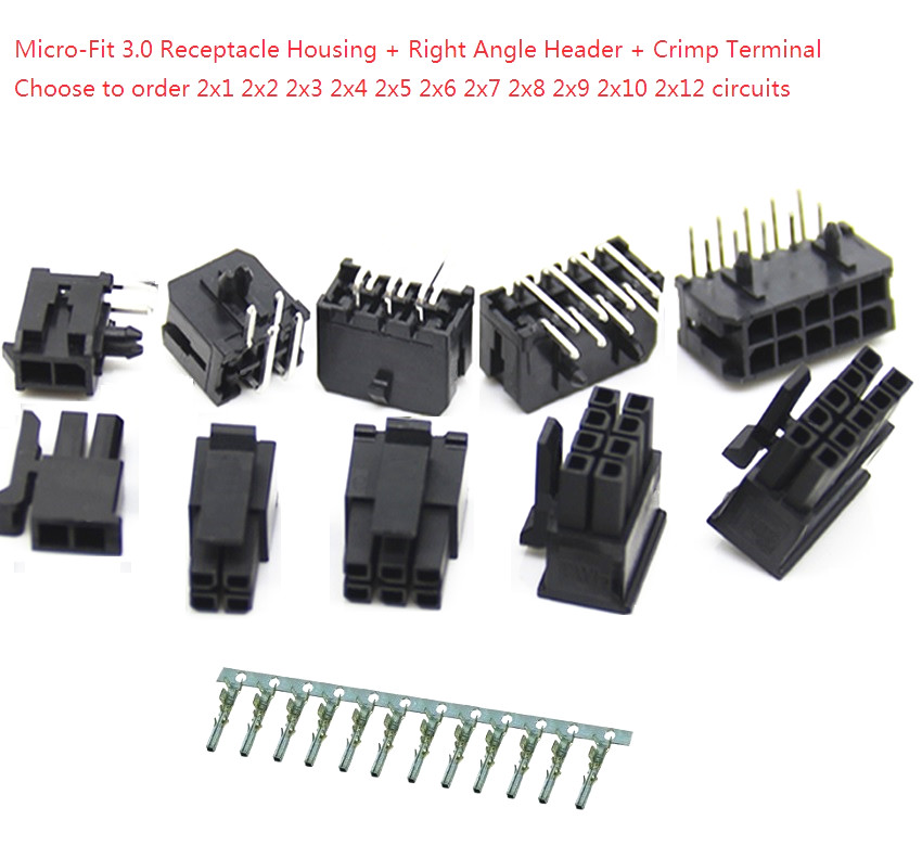 10sets Micro-Fit 3.0 Mm Receptacle Housing Dual Row 2 4 6 8 10 12 14 16 18 20 24 Circuits + Right Angle Header + Crimp Terminal