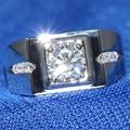 1 Carat ct F Color de Compromiso Moissanite Laboratorio Crecido Anillo de Diamante Sólido 14 K 585 Oro Blanco Para Los Hombres
