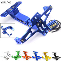 Motorcycle Adjustable Angle Aluminum License Number Plate Frame Holder Bracket For YAMAHA YZF R1 R3 R6