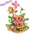Счастливые Вишня Дети Дети 3D Деревянные Головоломки Дошкольного Игрушка DIY Мультфильм Животных Цветы Дома Деревянные Головоломки