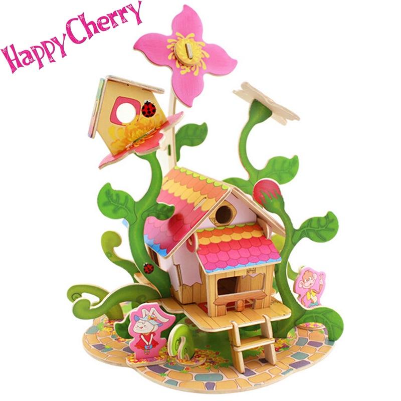 Happy Cherry Kids Childs 3d Wood Puzzle Preschool Toy Diy