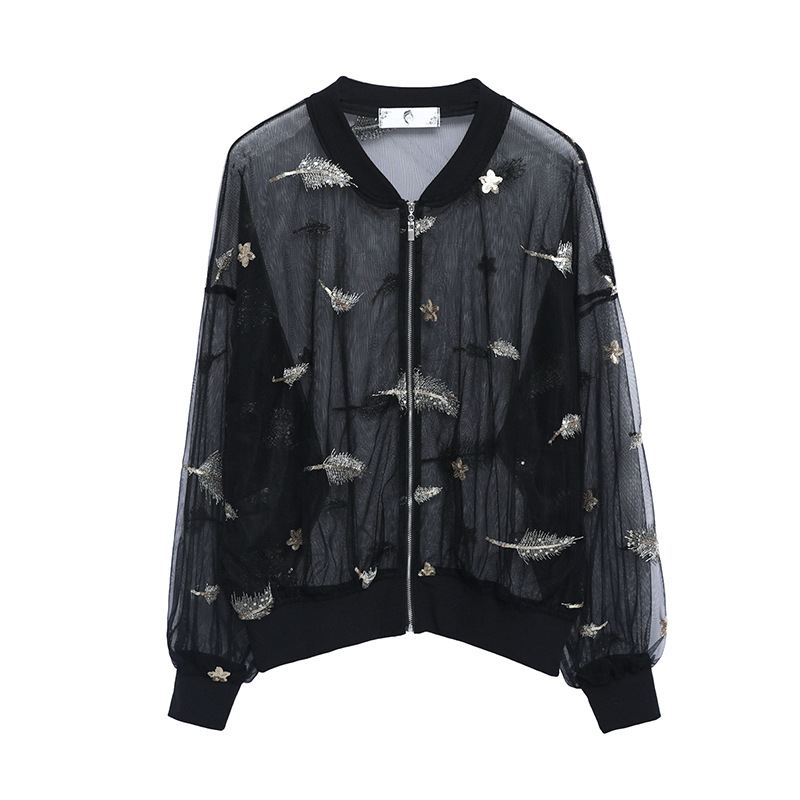 Women's Embroidery Mesh   Jackets   2019 Summer Causal windbreaker Women   Basic     Jackets   Coats Lightweight   Jackets   Plus Size 4XL