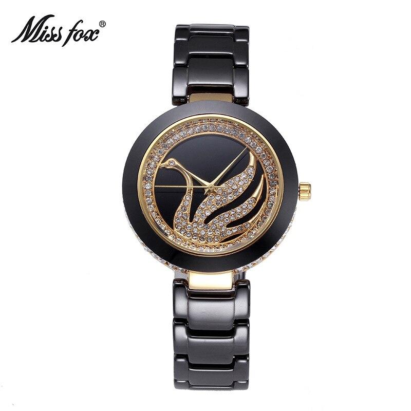 Miss Fox marque de luxe quartz pour mode décontractée montres en céramique dame femmes montre-bracelet fille robe femme horloge relojes mujer
