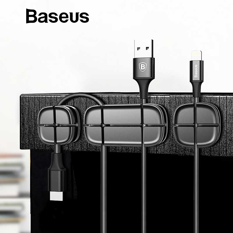 Baseus Cable Protector Silicone USB Cable Management Earphone Charge Cable Organizer Desktop Wire Cord Holder Cable Winder Clip usb cable organizer clamp desktop cord management wire winder holder
