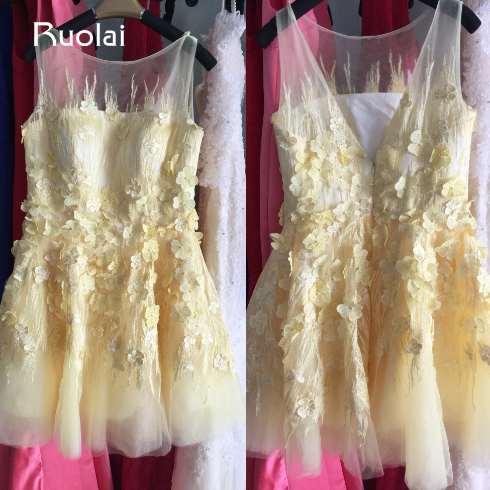 Real Photo 2019 Scoop Yellow   Flower     Girl     Dresses   Knee Length   Flowers   Short First Communion   Dresses   for Kids Party   Dresses   AFG36