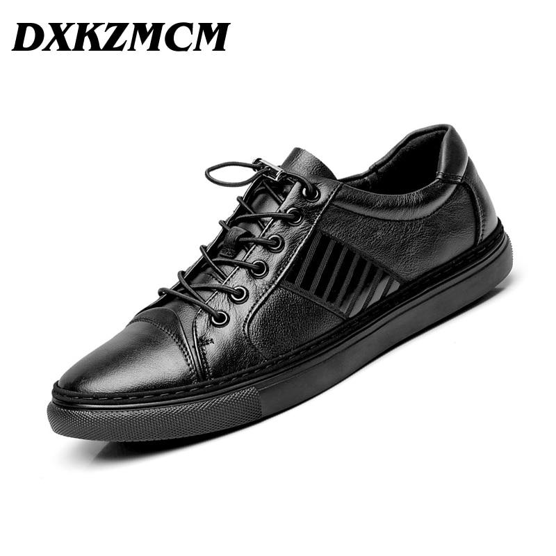 DXKZMCM Brand Genuine Leather Men Shoes Elastic Men Casual Shoes Autumn Winter Men Flats Sneakers Shoes mulinsen latest lifestyle 2017 autumn winter men