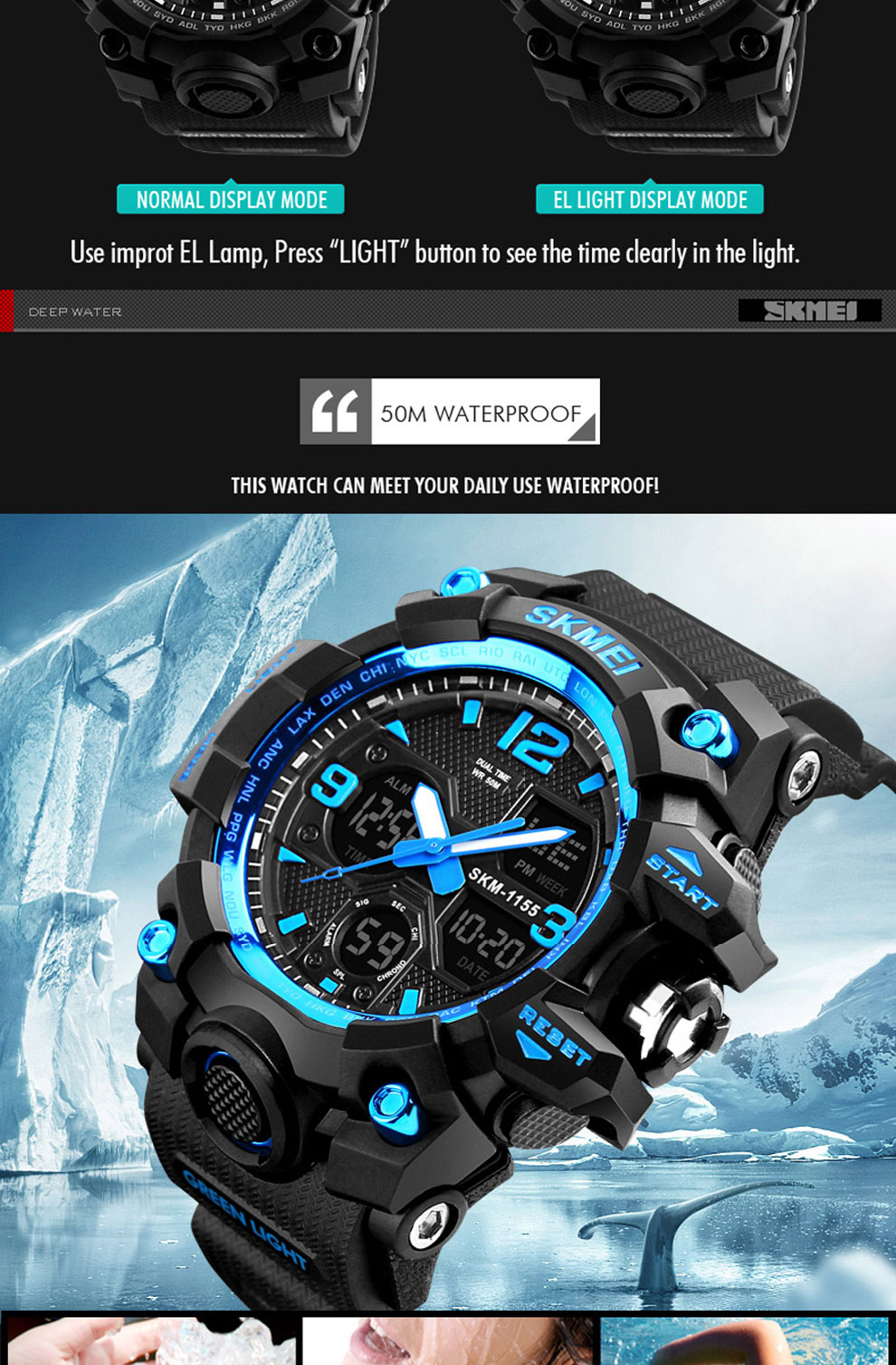 HTB10P0uRwHqK1RjSZFEq6AGMXXaN SKMEI Brand Luxury Military Sports Watches Men Quartz Analog LED Digital Clock Man Waterproof Dual Display Wristwatches Relogio