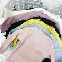 Girls T Shirt Solid Pink Yellow Black Blue Color Long Sleeve Girl Tops 100 Cotton Toddler