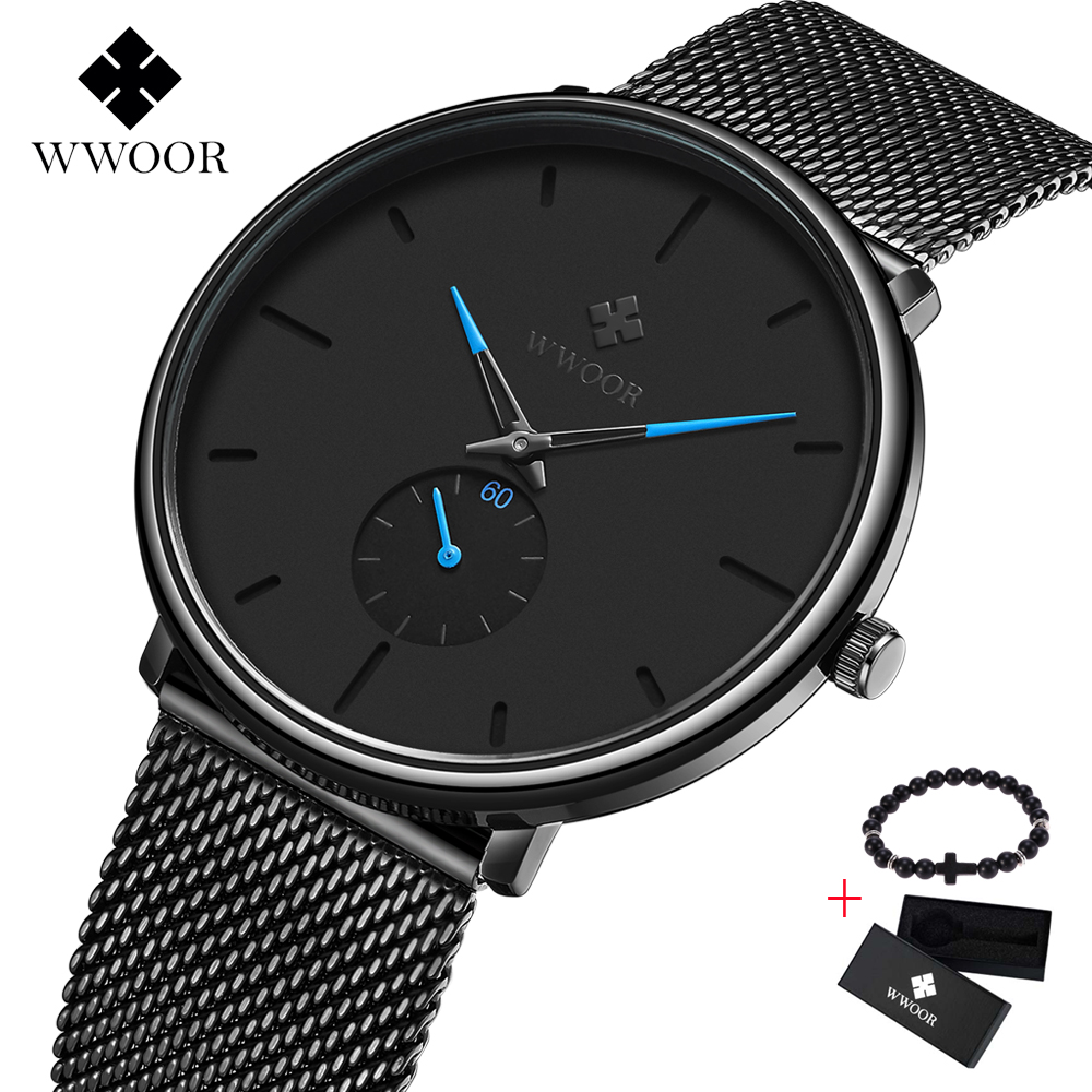 WWOOR Ultra thin Mesh Fashion Sport Mens Watches Brand Luxury Quartz watch Men Casual Steel Waterproof