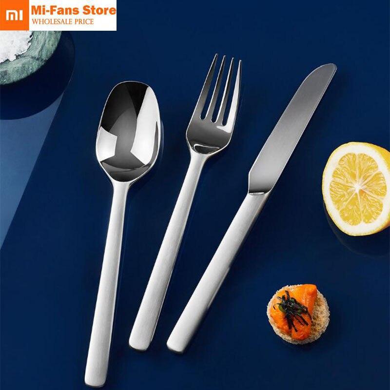 Hot Sale Xiaomi Mijia Steak Knives Spoon Fork Stainless Steel Silver Dinner Dinnerware Household Cutlery For Family Friends Gift For Wedd